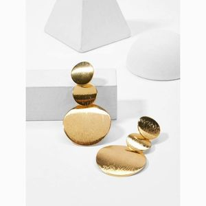 Gold 3 Layered Disc Statement Drop Earrings